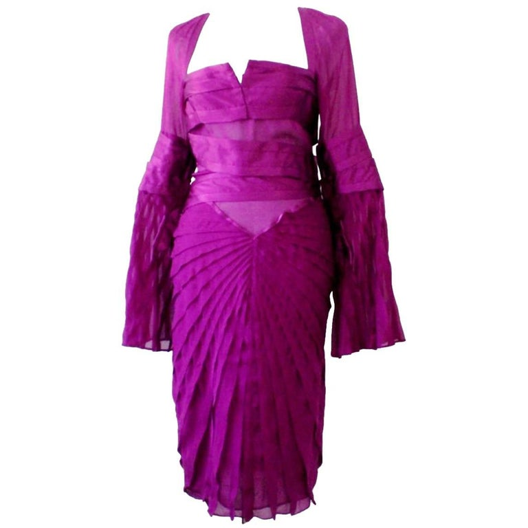 Famous Gucci by Tom Ford FW 2004 Purple Silk Asymmetric Dress