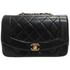 Chanel Diana Black Lambskin Gold Chain Shoulder Bag