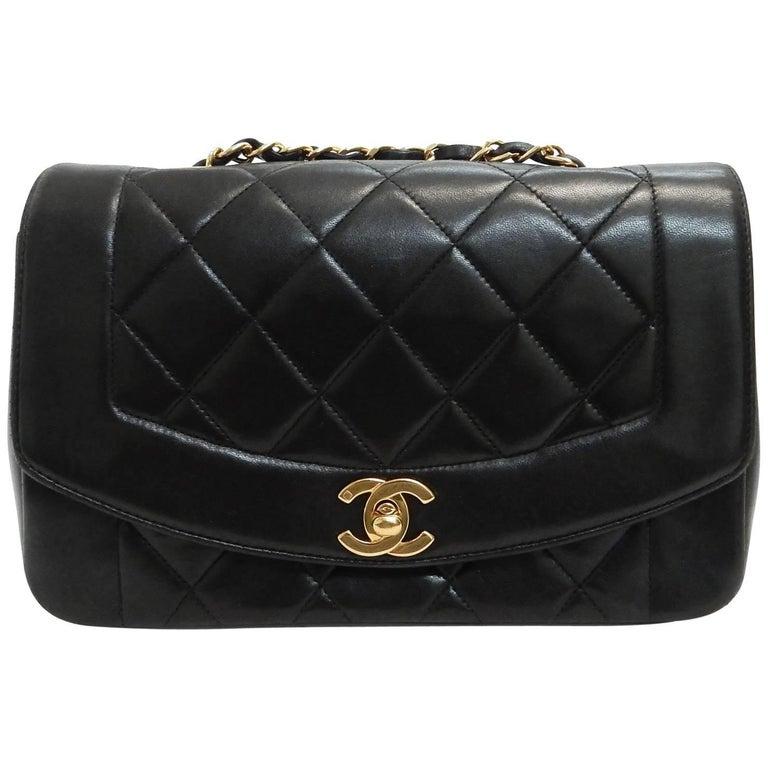 58dfd69c7fb239 Chanel Diana Black Lambskin Gold Chain Shoulder Bag For Sale at 1stdibs