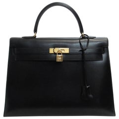 Hermes Black Kelly 35 Box Calfskin Satchel Bag with No Strap