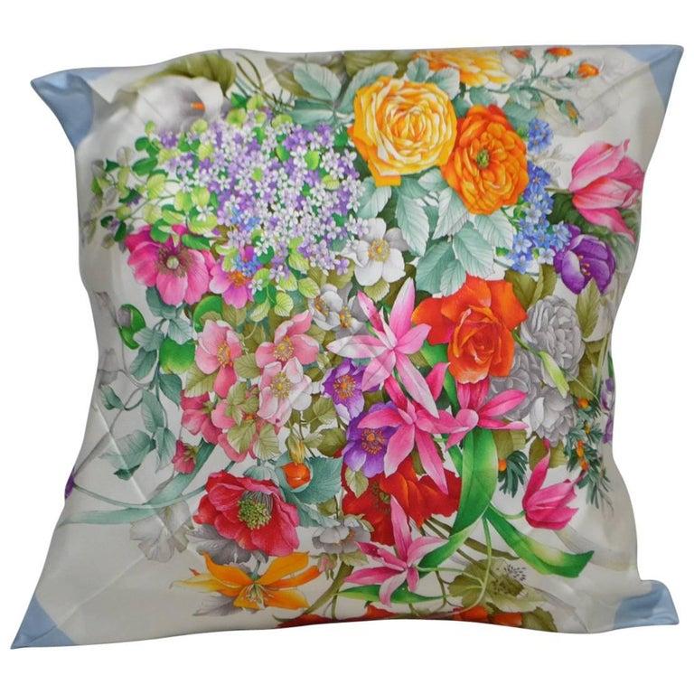 Vintage Gucci Scarf Pillow Light Blue Flowers iwj4426-1