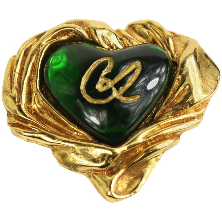 Christian Lacroix Gold Toned Setting Green Gripoix Heart-Shaped Brooch  For Sale