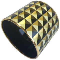 HERMES Mega Large Cuff Bracelet in Colored Enamel and Gold Plated Metal