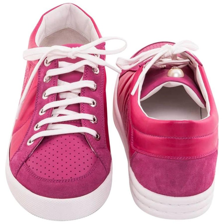 CHANEL Tennis Sneakers in Fuchsia Pink Velvet Leather and Suede Size 40.5FR