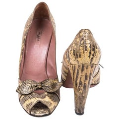 ALAÏA High Heels Sandals in Yellow and Brown Snakeskin Size 39FR