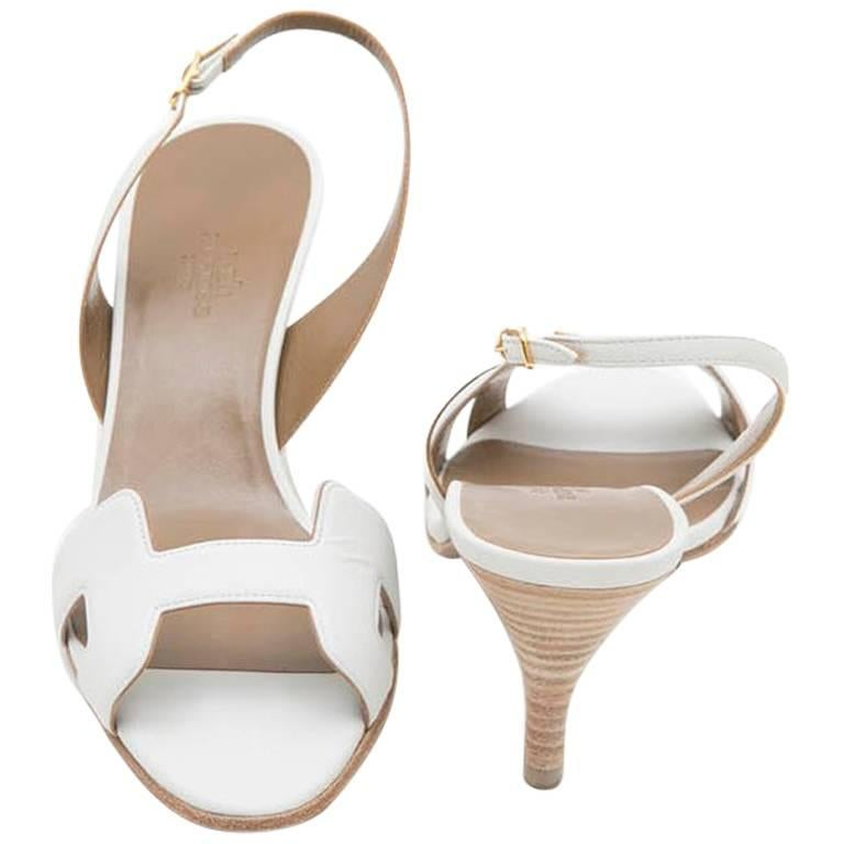 0222312629 HERMES 'Oran' High Heels Sandals in White Smooth Leather Size 39FR ...