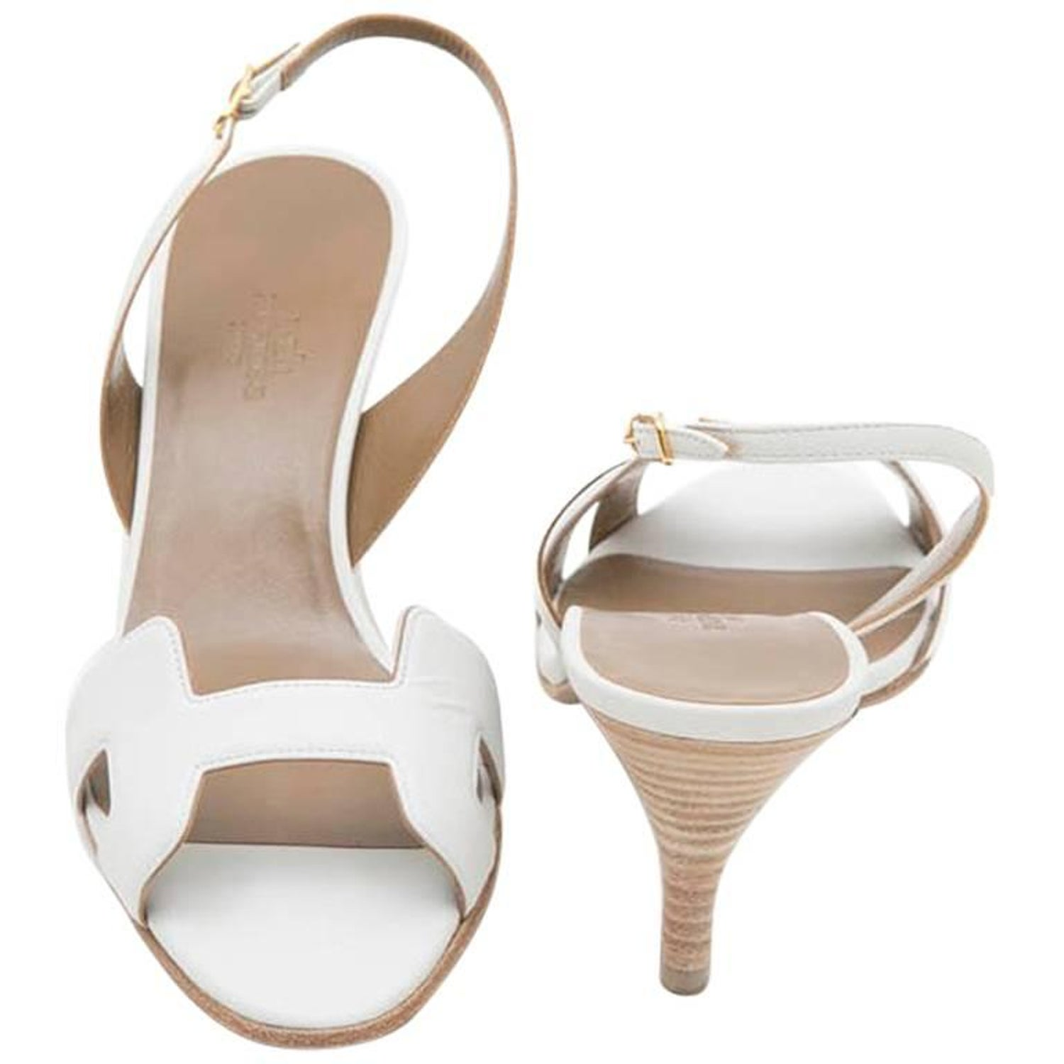 e26fca8ea966 HERMES  Oran  High Heels Sandals in White Smooth Leather Size 39FR at  1stdibs
