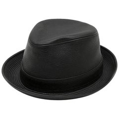 Hermes Hat in Black Taurillon Clémence Leather Size 58