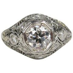 Antique Platinum Diamond Art Deco Filigree Engagement Ring