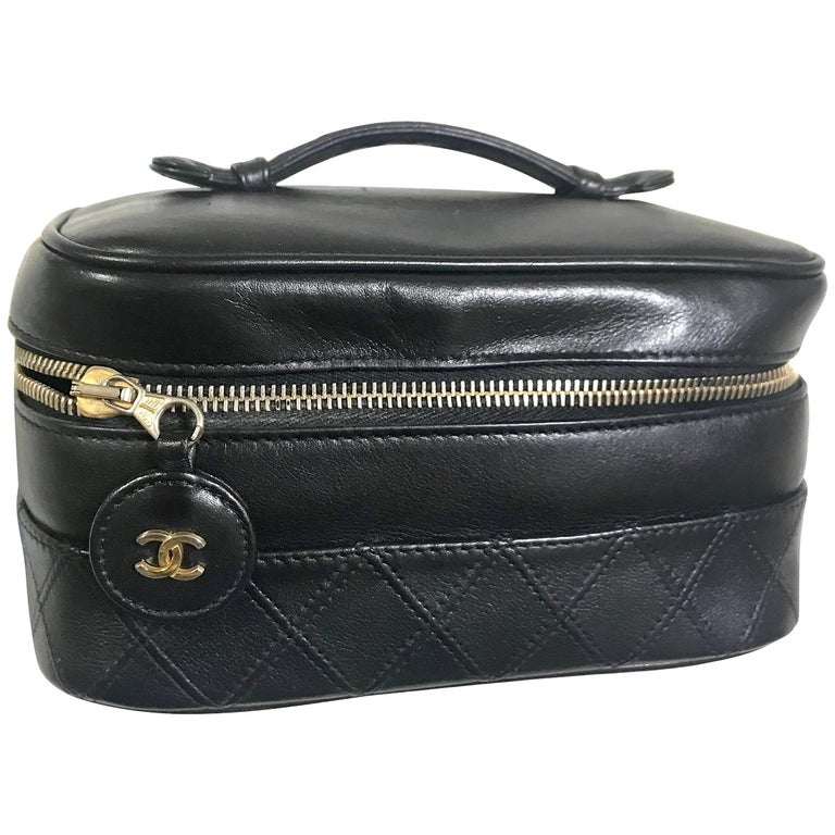 Chanel Vintage calfskin classic cosmetic and toiletry black pouch, vanity bag