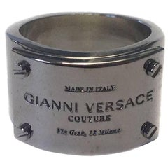 VERSACE Unisex Band Ring in Palladium-Plated Brass Metal Size 60FR
