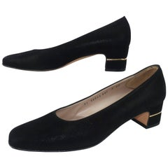 Ferragamo Vintage Laminated Black Suede Shoes With Gold Details