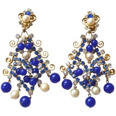 KJL Blue Bead and Rhinestone Earrings, 1960s