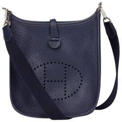 2017 Hermes Bleu Saphir Clemence Leather Evelyne TPM