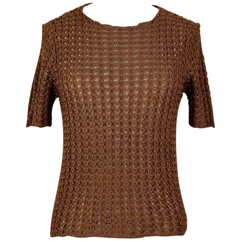 Yves Saint Laurent YSL Brown Openwork Knit Pullover Sweater Top, 1980s