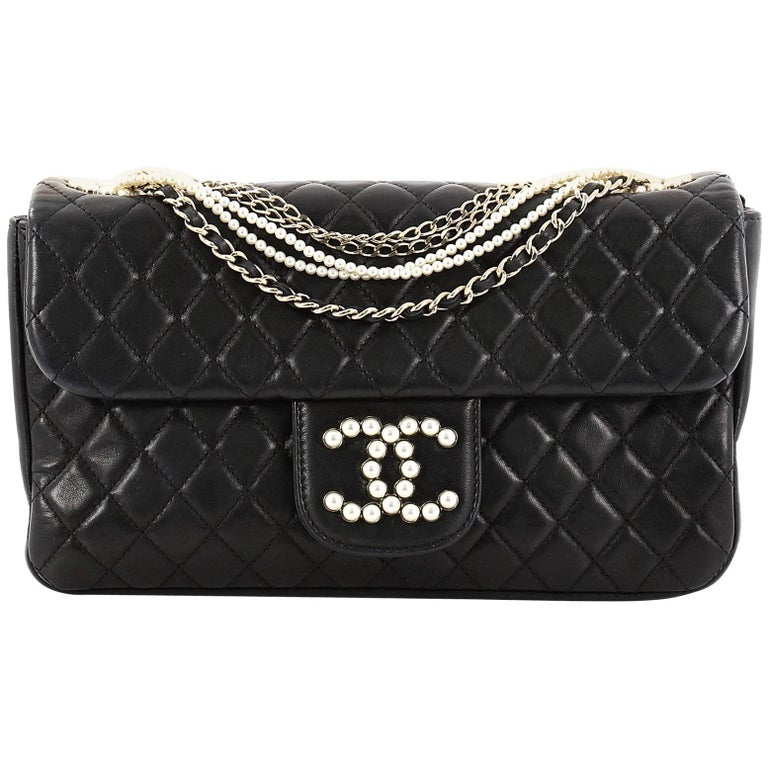 Chanel Westminster Pearl Chain Flap Bag Quilted Lambskin Medium For Sale