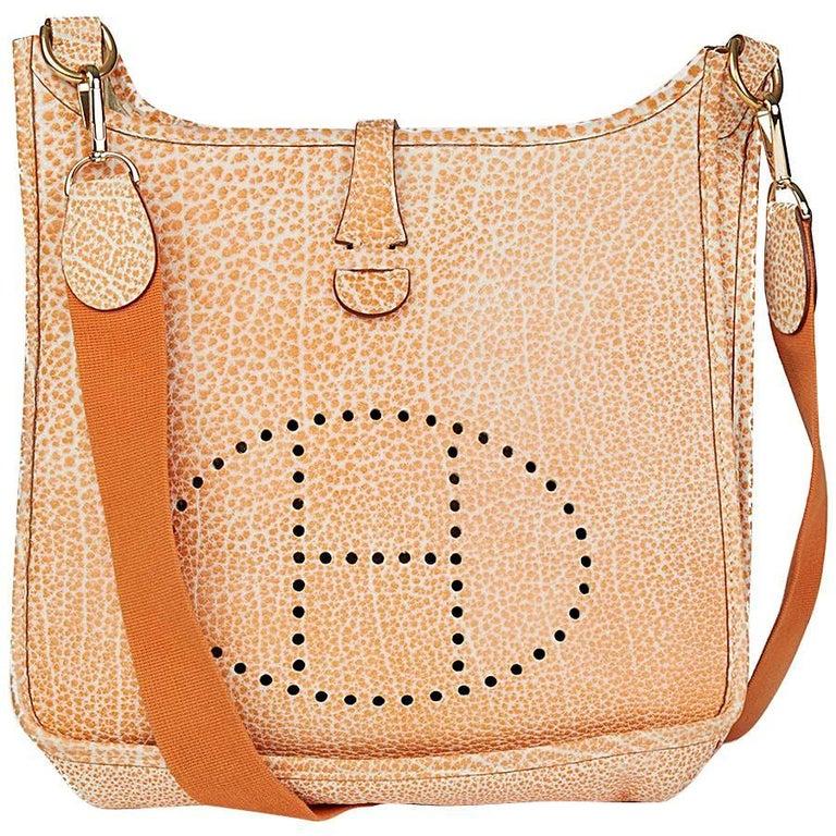 2002 Hermes Orange Dalmatian Buffalo Leather Evelyne I PM