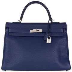2014 Hermes Bleu Saphir Togo Leather Kelly 35cm Retourne