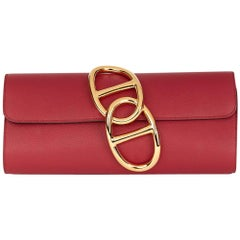 2016 Hermes Rouge Grenat Evergrain Leather Egee Clutch