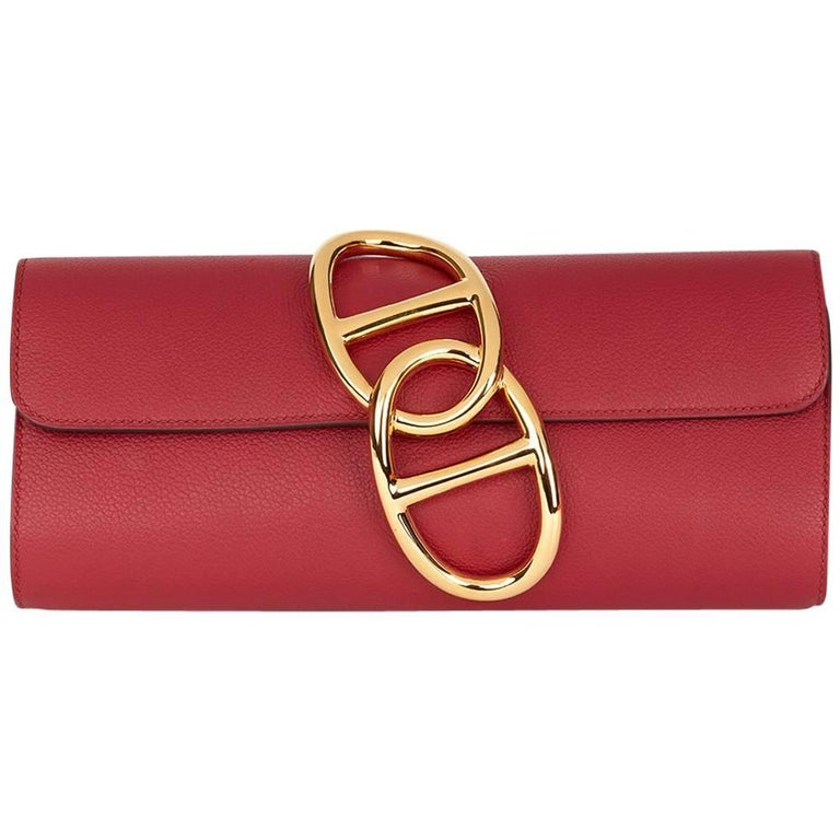 2016 Hermes Rouge Grenat Evergrain Leather Egee Clutch  For Sale