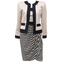 1980's Liancarlo Black & Ivory Strapless Dress With Jacket