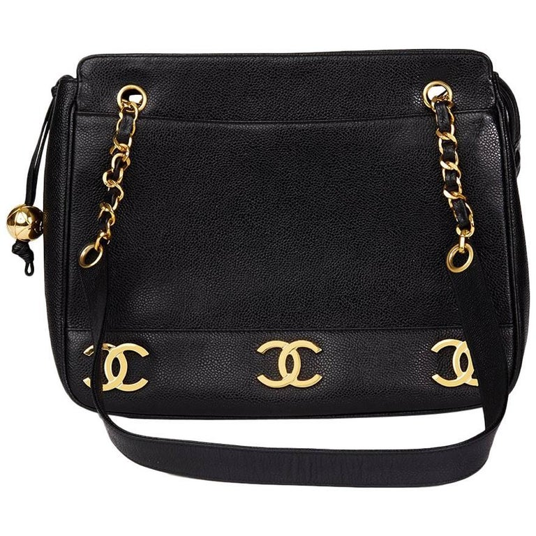 1990s Chanel Black Caviar Leather Vintage Timeless Shoulder Bag For Sale 63846c792a867