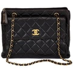 1997 Chanel Black Quilted Lambskin Vintage Timeless Shoulder Bag