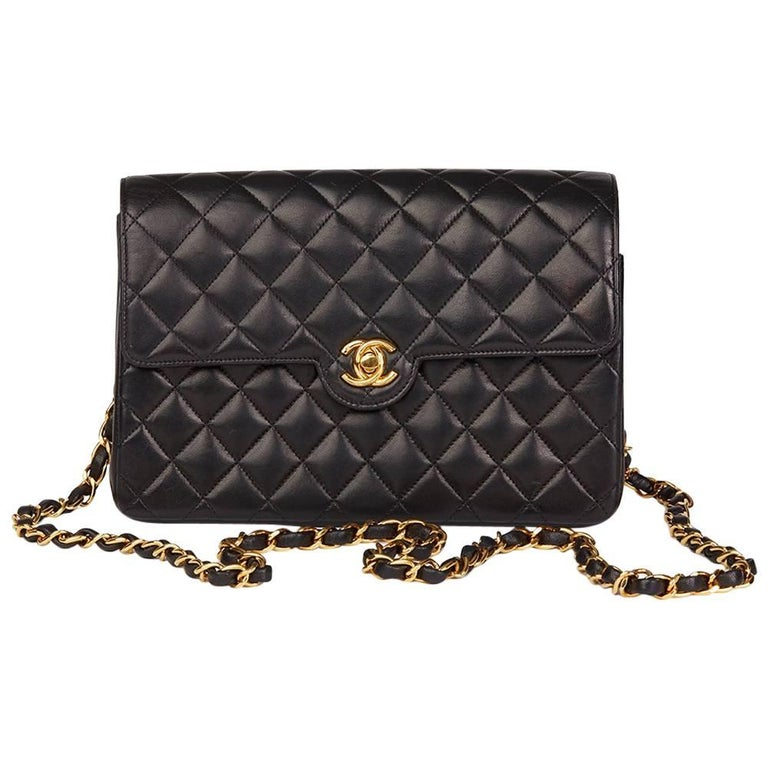 dbf6bbc946dc 1996 Chanel Black Quilted Lambskin Vintage Classic Single Flap Bag For  Sale.