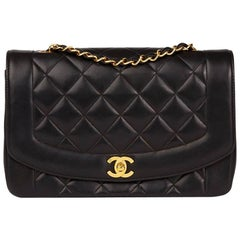 1994 Chanel Black Quilted Lambskin Vintage Medium Diana Classic Single Flap Bag