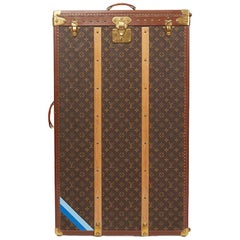 1980 Louis Vuitton Brown Monogram Coated Canvas Vintage Custom Wardrobe Trunk