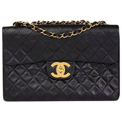 1990 Chanel Black Quilted Lambskin Vintage Maxi Jumbo XL Flap Bag