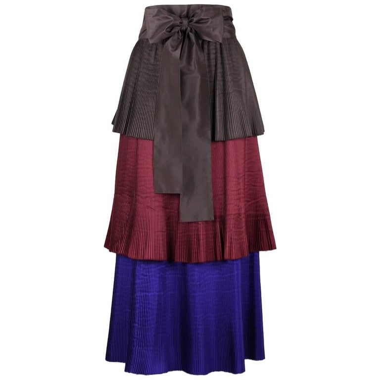Yves Saint Laurent YSL Colour Block Pleated Tiered Silk Skirt With Sash, 1980s  For Sale