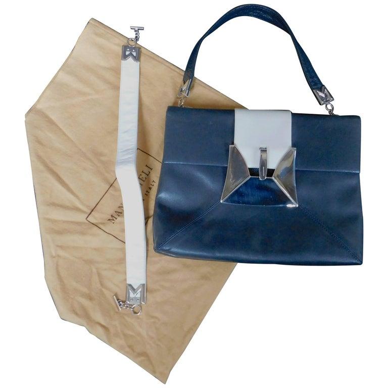 Mangiameli Vintage Italian Navy Blue and White Calfskin Leather Handbag