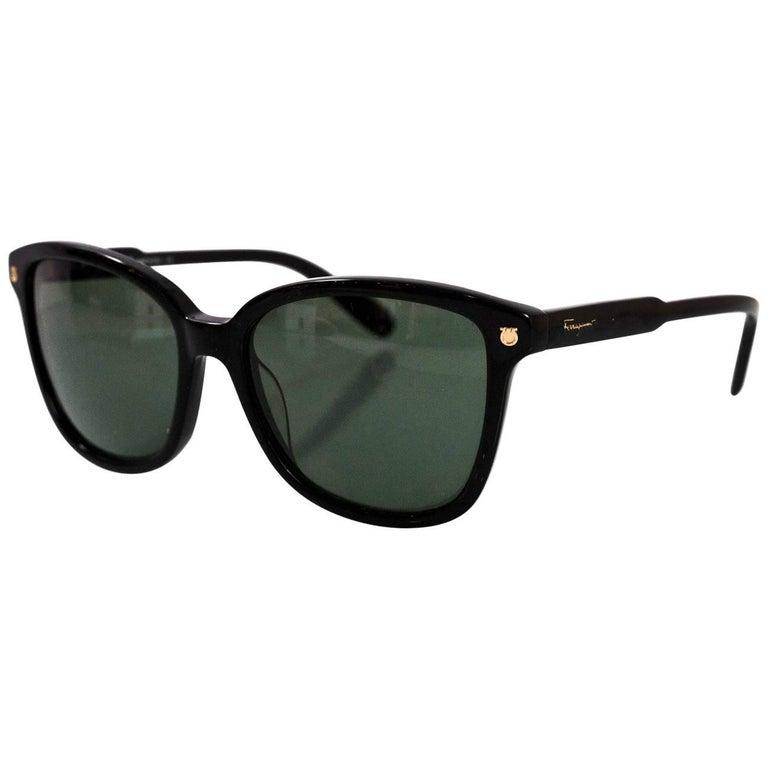 Salvatore Ferragamo Black Resin Sunglasses with Case