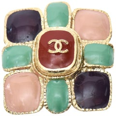 Chanel CC Enamel and Gold Plated Pin / Brooch
