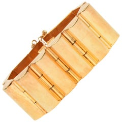 Gold Plated Art Deco Modernist Style Channeled Cuff Bracelet