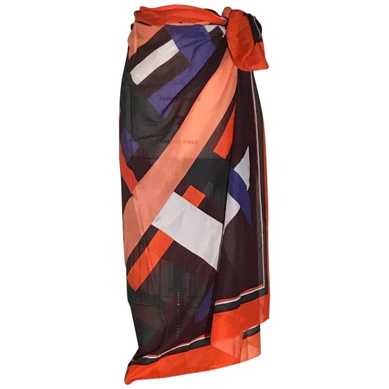 00ae3a296 New Emilio Pucci Giant Multicolor Geometric Pareo Wrap Skirt Scarf Beach  Cover