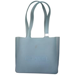 Chanel Pale Blue Rubber Tote Style Handbag