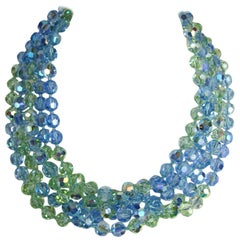 1990s 5 Strand Blue Green Crystal Bib Necklace New, Never worn