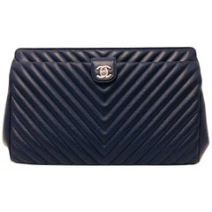 Chanel Navy Chevron Quilt Frame Clutch With Silver Tone Hardware Serial 22475069