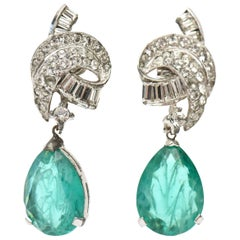 Signed Panetta Vintage Drop Clip on Glass and Rhinestone Dangle Earrings