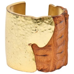 Hammered Brass and Crocodile Leather Cuff Signed Sculptural Artisan Bracelet