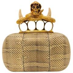 Alexander McQueen Snakeskin Knuckle Duster Box Clutch With Brass Hardware