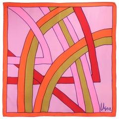 Pop Mod 1960's Vera Pink & Orange Silk Scarf