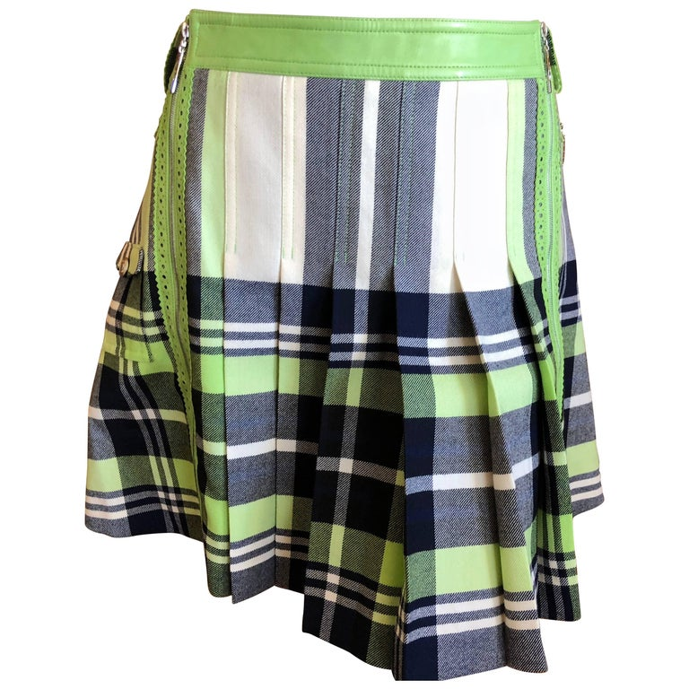 Christian Dior John Galliano Vintage Leather Trim Pleated Plaid Schoolgirl Skirt