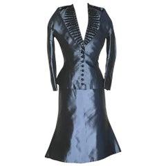 Alexander McQueen Blue Silk Beaded Detail Skirt Suit Jacket, 2007