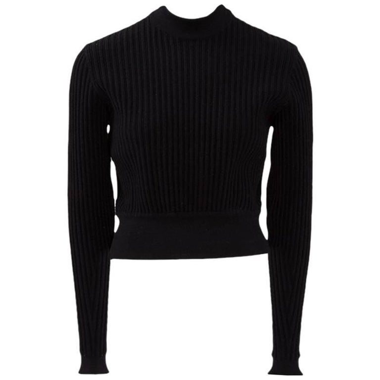 Alaia Wool Ribbed Cropped Pullover