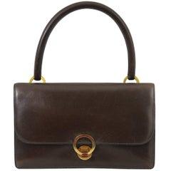 Hermes Vintage Brown Box Leather Ring Bag