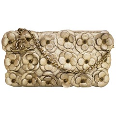 Chanel Gold Leather Camellia Clutch/Crossbody Bag