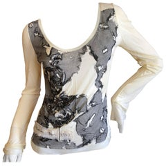 Christian Dior by John Galliano Embroidered Lace Print Deconstructed Top, 2000